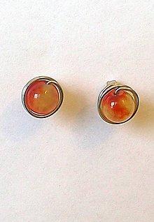 Náušnice - puzetky chirurgická oceľ - oranžovožltý jadeit - 8109164_