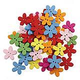 Galantéria - Drevené gombíčky kvetinky (balíček 20ks) - 8109045_