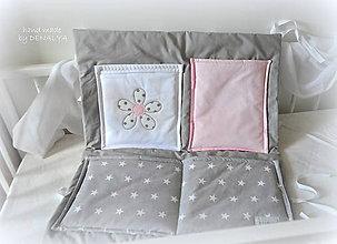 Textil - Vreckár na postieľku 60x70cm kolekcia LOVE s kvetom - 8113513_