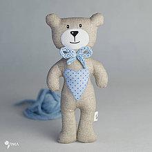 Hračky - béžový macko s modrým srdiečkom - 8110337_