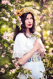 Sukne - Biela folk sukňa - 8111154_