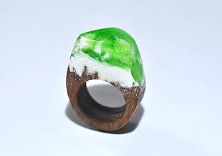 Prstene - Drevený prsteň Greenery - 8110890_