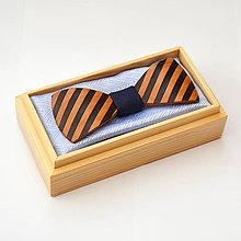Doplnky - Drevený motýlik GRAND - hruška šrafy - 8112526_