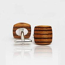 Šperky - Drevené manžetové gombíky BALANCE - zebrano - 8113206_