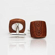 Šperky - Drevené manžetové gombíky BALANCE - mahagon - 8113258_