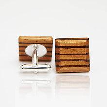 Šperky - Drevené manžetové gombíky ELEGANCE - zebrano - 8113275_