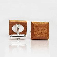 Šperky - Drevené manžetové gombíky ELEGANCE - čerešňa - 8113284_