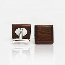 Šperky - Drevené manžetové gombíky ELEGANCE - orech - 8113307_
