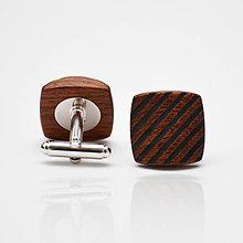 Šperky - Drevené manžetové gombíky BALANCE - mahagon šrafy - 8113587_