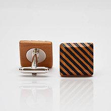 Šperky - Drevené manžetové gombíky ELEGANCE - hruška šrafy - 8113626_