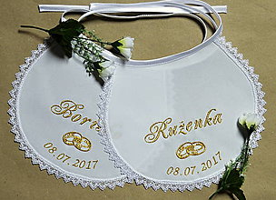 Iné doplnky - svadobné podbradníky vyšívané - 8112074_