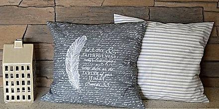 Úžitkový textil - vankúš dekoračný vyšívaný -pierko - 8112134_
