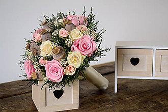 Kytice pre nevestu - Svadobná kytica z konzervovaných kvetov s makovicami - 8113452_