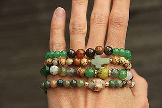 Náramky - Set 4 náramkov z minerálov - green - 8112941_