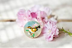 Odznaky/Brošne - Ručně malovaná brož s hnědým ptáčkem - 8116531_