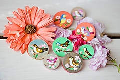 Odznaky/Brošne - Ručně malovaná brož s ptáčkem v zelené - 8116574_