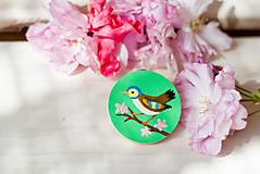 Odznaky/Brošne - Ručně malovaná brož s ptáčkem v zelené - 8116579_