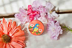 Odznaky/Brošne - Ručně malovaná brož s ptáčkem v meruňkové - 8116598_