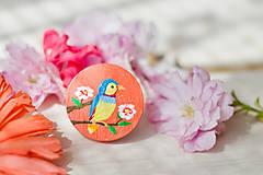 Ručně malovaná brož s ptáčkem v meruňkové