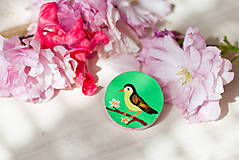 Odznaky/Brošne - Ručně malovaná brož s ptáčkem v zelené - mini - 8116612_