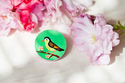 Ručně malovaná brož s ptáčkem v zelené - mini