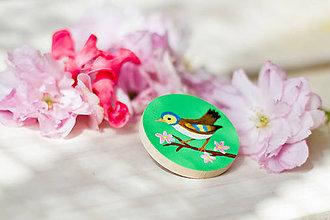 Odznaky/Brošne - Ručně malovaná brož s ptáčkem v zelené - 8116578_