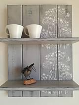 Nábytok - Polička sivá - kvetinky - 8115748_