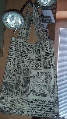Nákupné tašky - nákupná taška malá - 2v1 - noviny víno - 8115139_