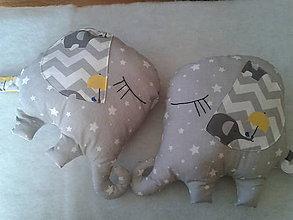 Úžitkový textil - spinkajúce dvojičky - sloníky - 8114076_