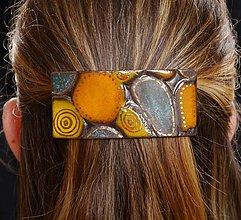 Ozdoby do vlasov - Keramická sponka so zlatom - Okrúhliaky - 8114764_
