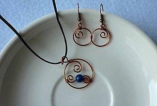 Sady šperkov - Medené krúžky s lapis lazuli - 8116974_