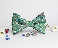 Šatky - Dámsky exkluzívny set - kvetinový motýlik, náušnice a prsteň - 8117206_