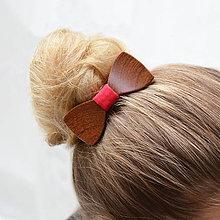 Ozdoby do vlasov - Drevený motýlik do vlasov - mahagon - 8114335_