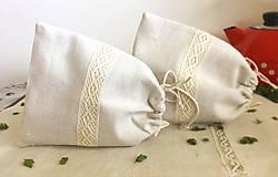 Úžitkový textil - Vrecúško na bylinky z ručne tkaného ľanu - 8114268_