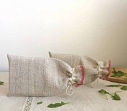 Úžitkový textil - Vrecúško na bylinky a sypaný čaj z ručne tkaného ľanu - 8116297_