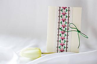 Papiernictvo - Vôňa fialiek  I - folk vyšívaný pozdrav - 8115927_