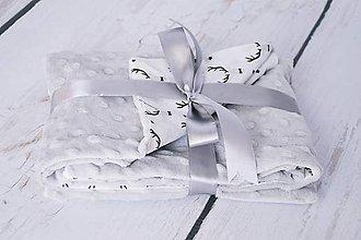 Textil - Minky grey deka s jeleňmi 70*70cm - 8117645_