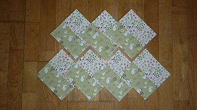 Úžitkový textil - Podšálky, podložky pod šálky, poháre ZAJAČIKOVIA NA LÚKE - dva varianty (2 dvojkombinácia) - 8119808_
