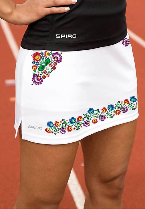 Športová minisukňa folk farebné kvety