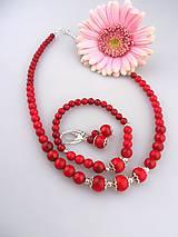 červený koral striebro Ag925 súprava náhrdelník náramok náušnice