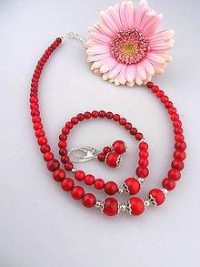 Sady šperkov - červený koral striebro Ag925 súprava náhrdelník náramok náušnice - 8118775_