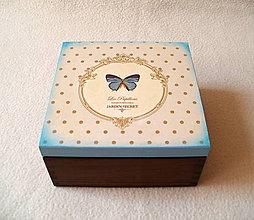 Krabičky - Čajová krabička Modrý motýľ - 8119117_