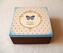 Krabičky - Čajová krabička Modrý motýľ - 8119120_