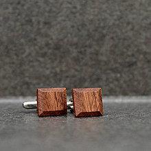 Šperky - Mahagónové manžetové gombíky štvorcové - 8120374_
