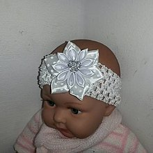 Detské doplnky - Biela detská čelenka so srdiečkom na krst - 8119680_