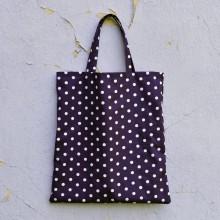 Nákupné tašky - Nákupná taška - slivkovo modrá s bodkami - 8117767_