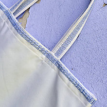 Nákupné tašky - Nákupná taška prírodná s modrou výšivkou - 8117827_