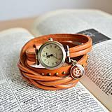 Náramky - ORANŽOVÉ ELEGANTNÍ HODINKY, omotávací hodinky - 8124392_