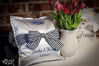 Úžitkový textil - Vankúšik svadobný bielo- modrý - 8123840_