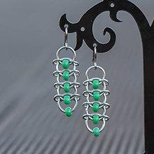 Náušnice - Korálkové hřbety - náušnice (zelené) - 8121921_